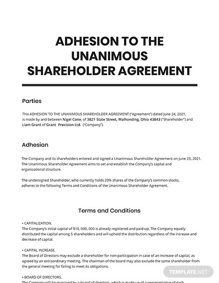 Adhesion to the Unanimous Shareholder Agreement Template