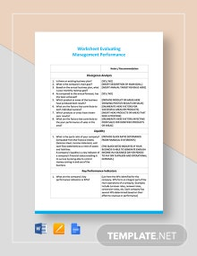 Worksheet on Evaluating Management Performance Template