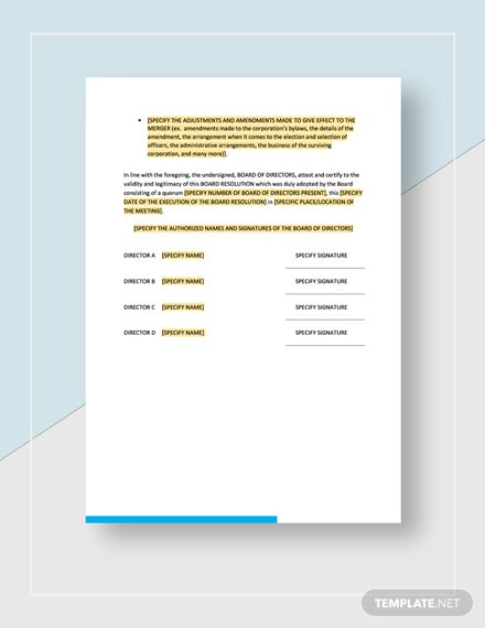 Board ResolutionAcknowledgingOwnership of and Merger with Company Download