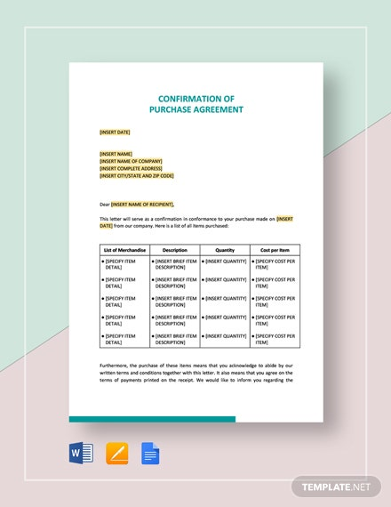Confirmation of Purchase Agreement