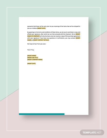 Confirmation of Purchase Agreement Template