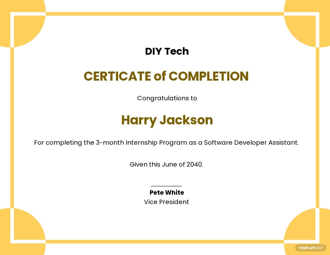 Free Internship Certificate of Completion Template.jpe