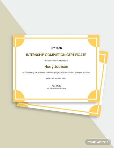 Free Internship Certificate of Completion Template