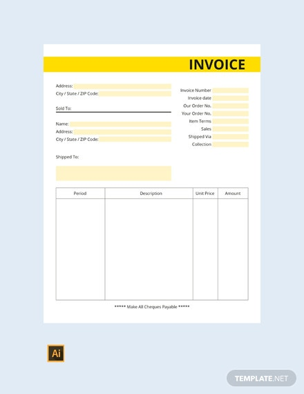Free Commercial Business Invoice Template