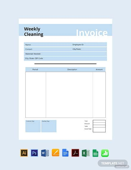 commercial cleaning invoice template 1