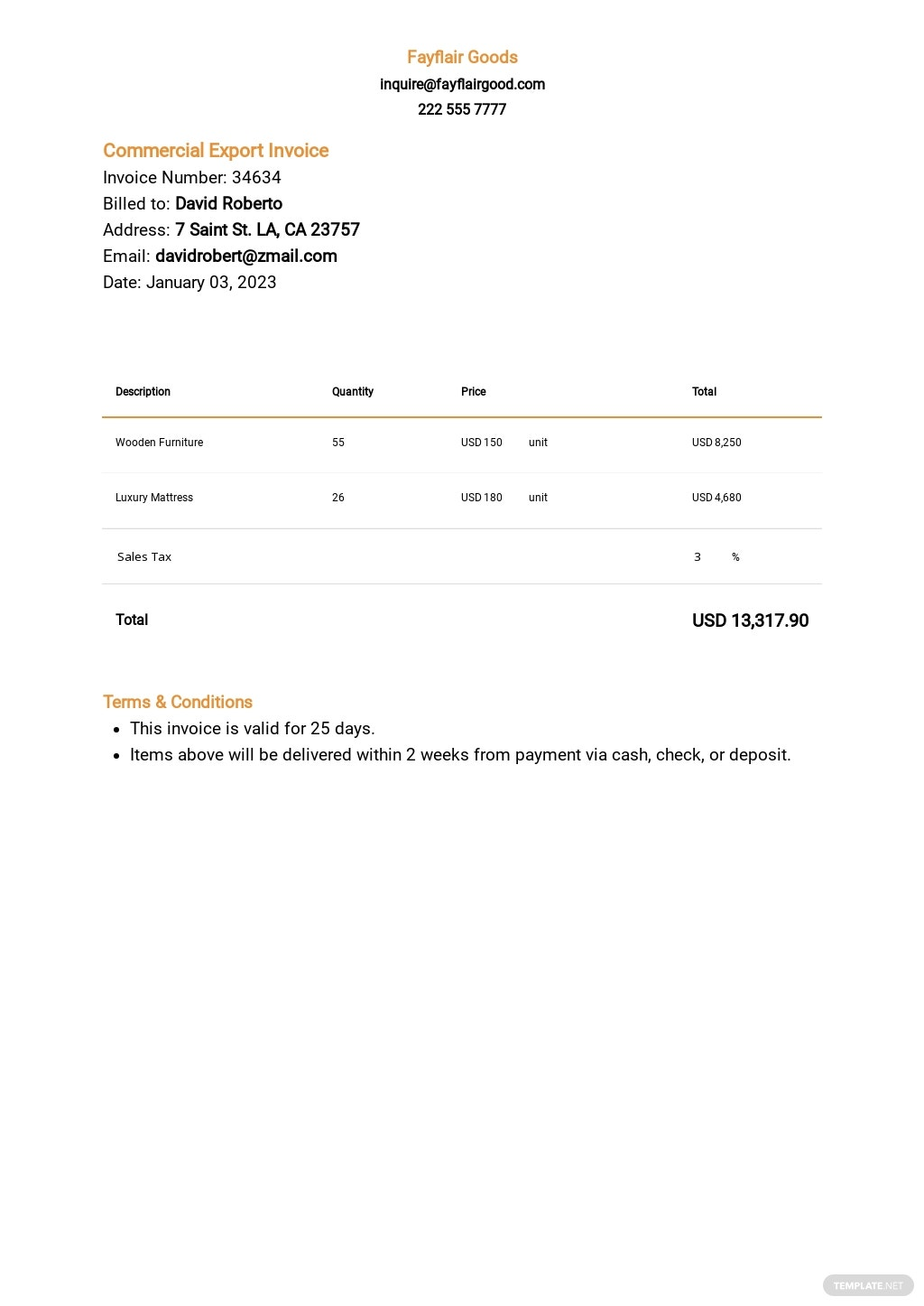 Commercial Export Invoice Template