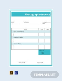 Free Commercial Photography Invoice Template