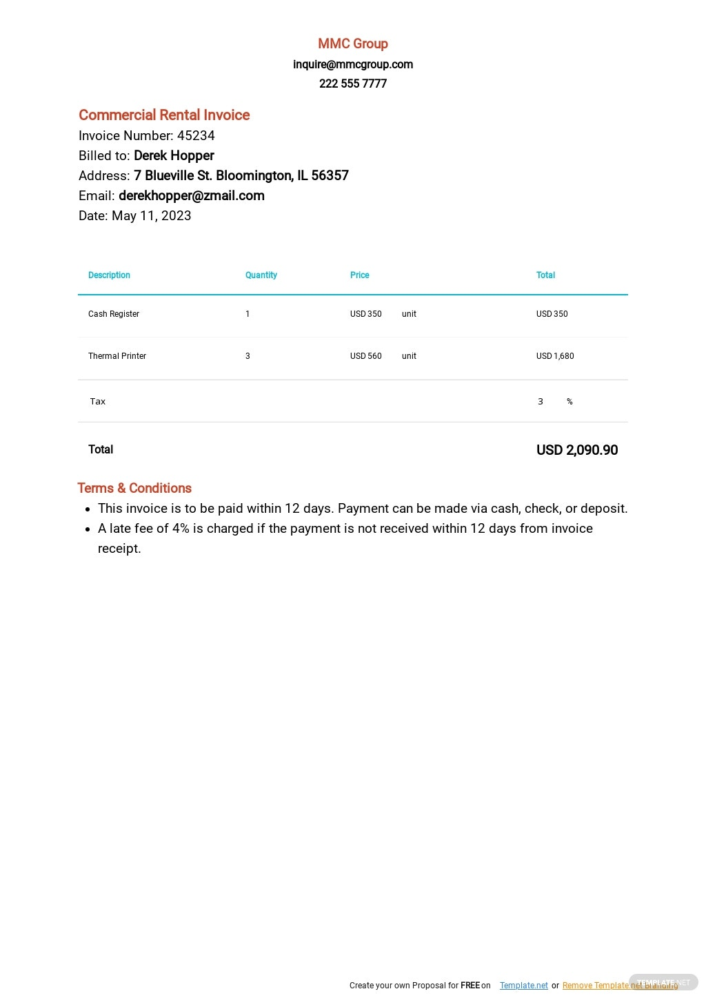 Commercial Rental Invoice Template.jpe
