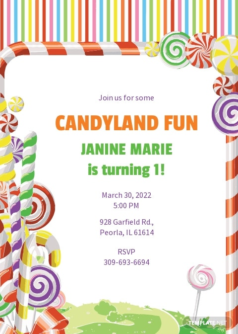 candyland birthday invitation template