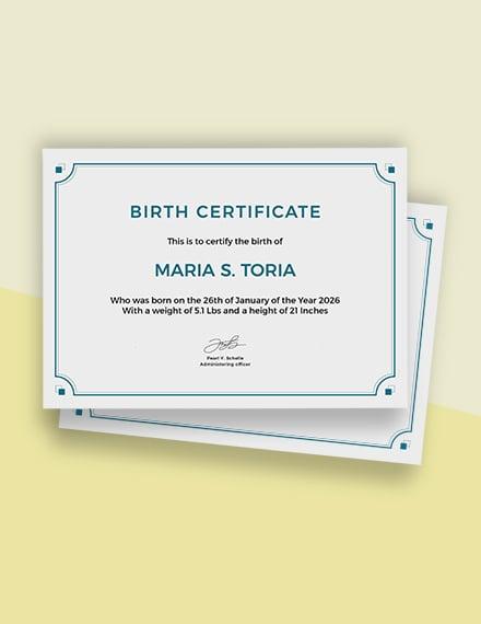 Free Blank Birth Certificate Template