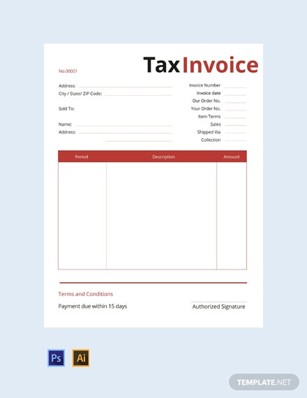 Free Commercial Tax Invoice Template