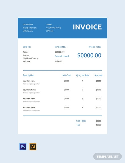 Free Generic Commercial Invoice Template