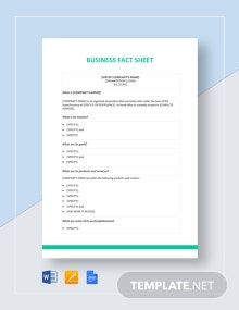 Business Fact Sheet Template