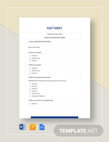 Blank Fact Sheet Template