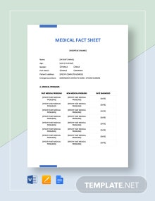Medical Fact Sheet Template