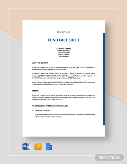 Fund Fact Sheet Template