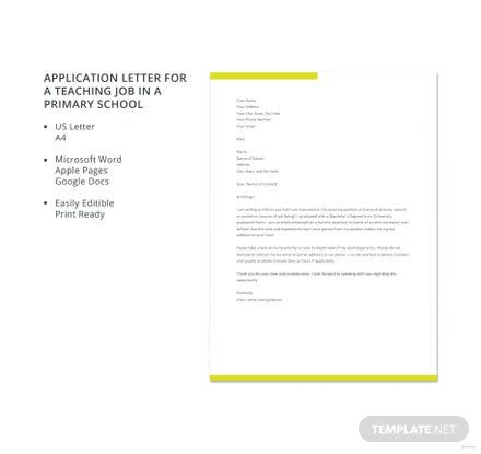 free application letter for a primary school teaching job template