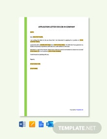 Free Application letter for a Company Job Template