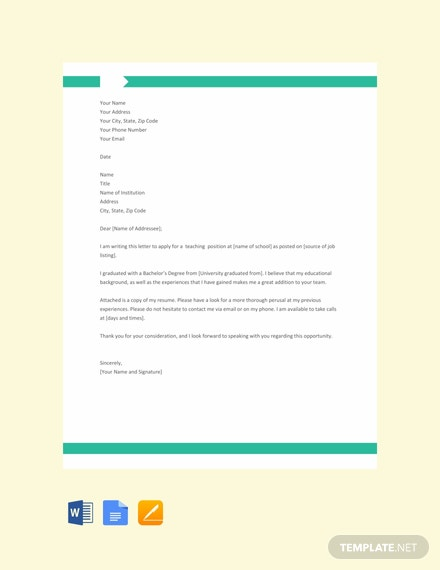 Free Application Letter for a Teaching Job Template