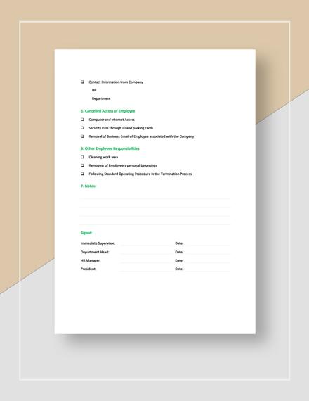 Termination Checklist Download