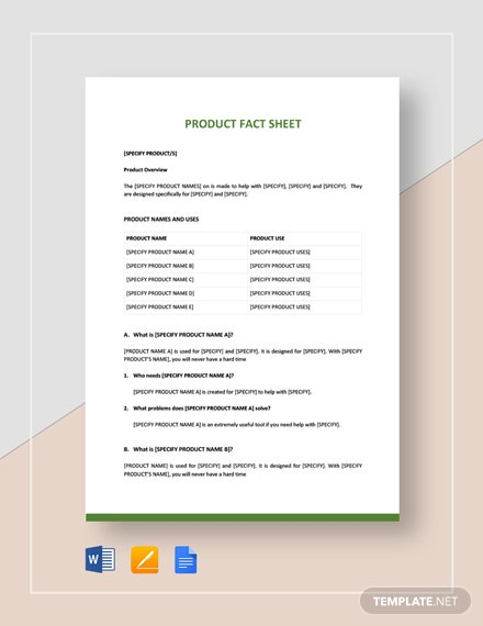 Product Fact Sheet Template
