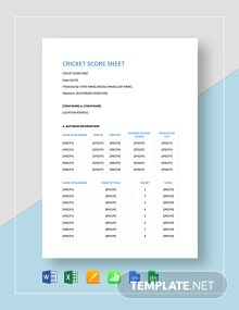 Sample Cricket Score Sheet Template