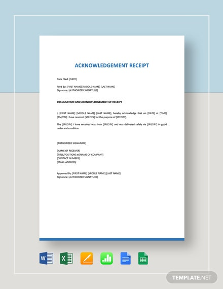 Acknowledgement Receipt Template