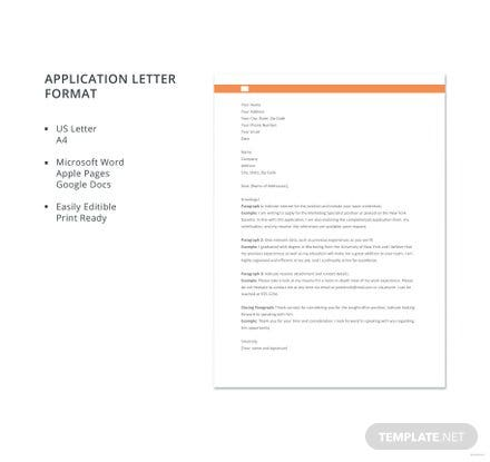 Free Application Letter Format