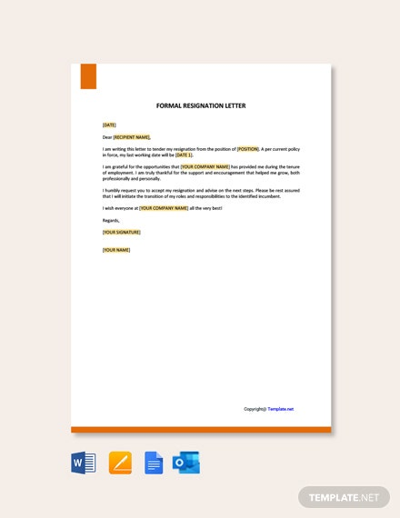 Formal-Resignation-Letter-Template-1 Mac Resignation Letter Template on free printable company, 2 week notice, for school aide,