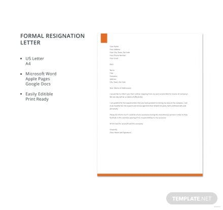 Free Formal Resignation Letter Template Download Letters In - Google docs letter template