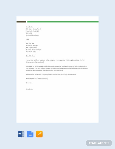 Free Sample Resignation Letter Template