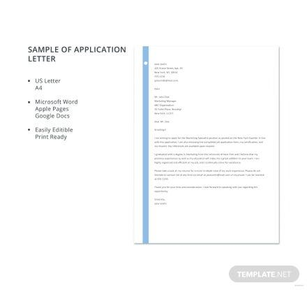 Free Sample of Application Letter Template