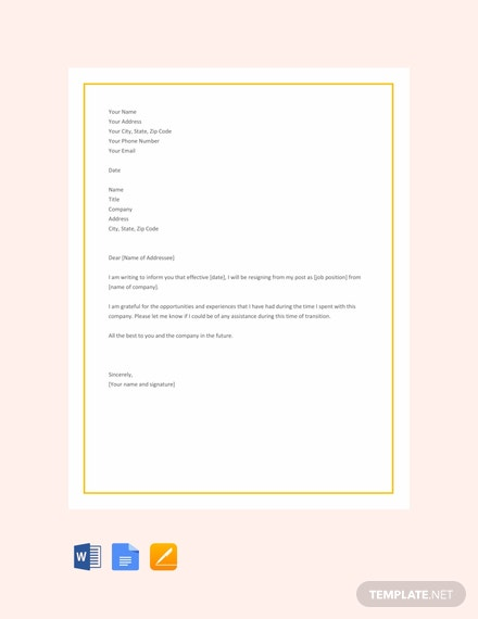 Free Short Resignation Letter Template