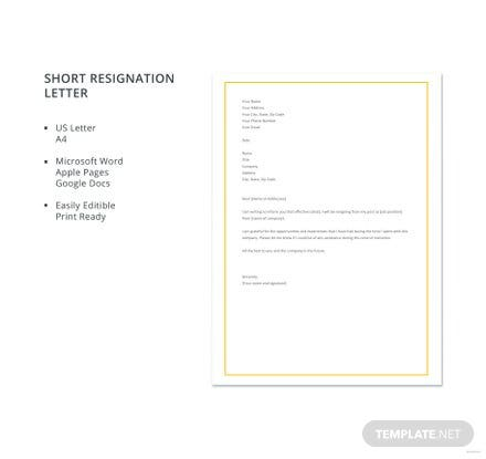 Free short resignation letter template download 700 letters in free short resignation letter template spiritdancerdesigns Images