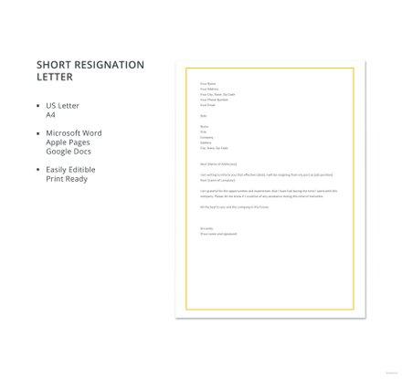 Free Short Resignation Letter Template