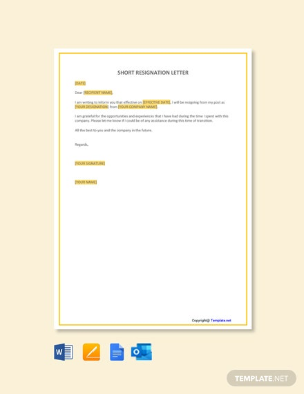 short-resignation-letter-1 Mac Resignation Letter Template on free printable company, 2 week notice, for school aide,
