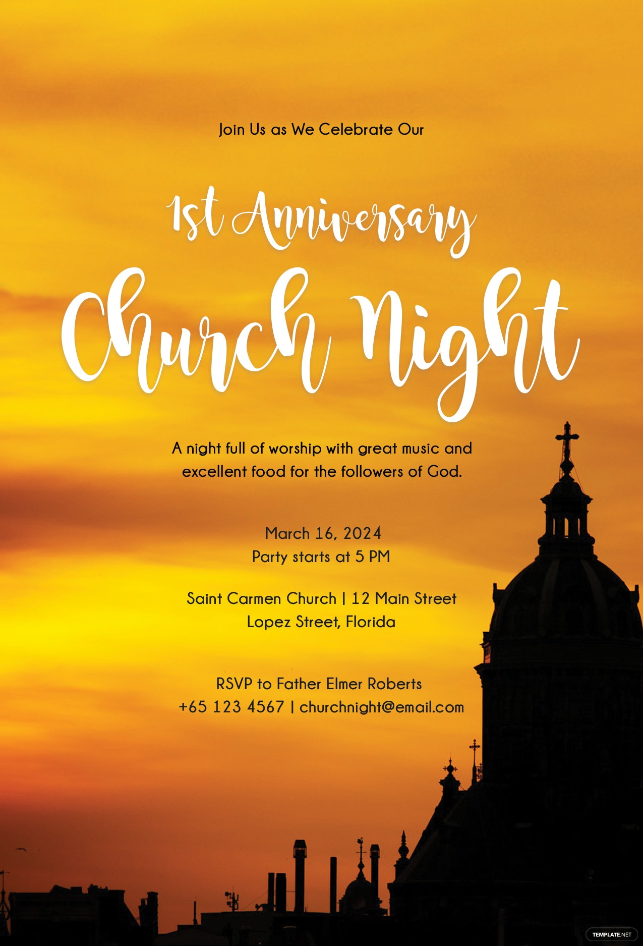 free church invitation template in psd  ms word  publisher