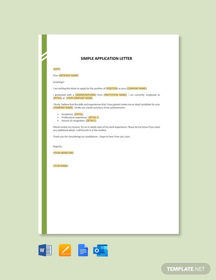 Free Simple Application Letter Template
