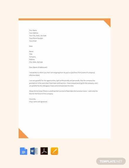 resignation letter template google docs  FREE Simple Resignation Letter Template - Word | Google Docs ...