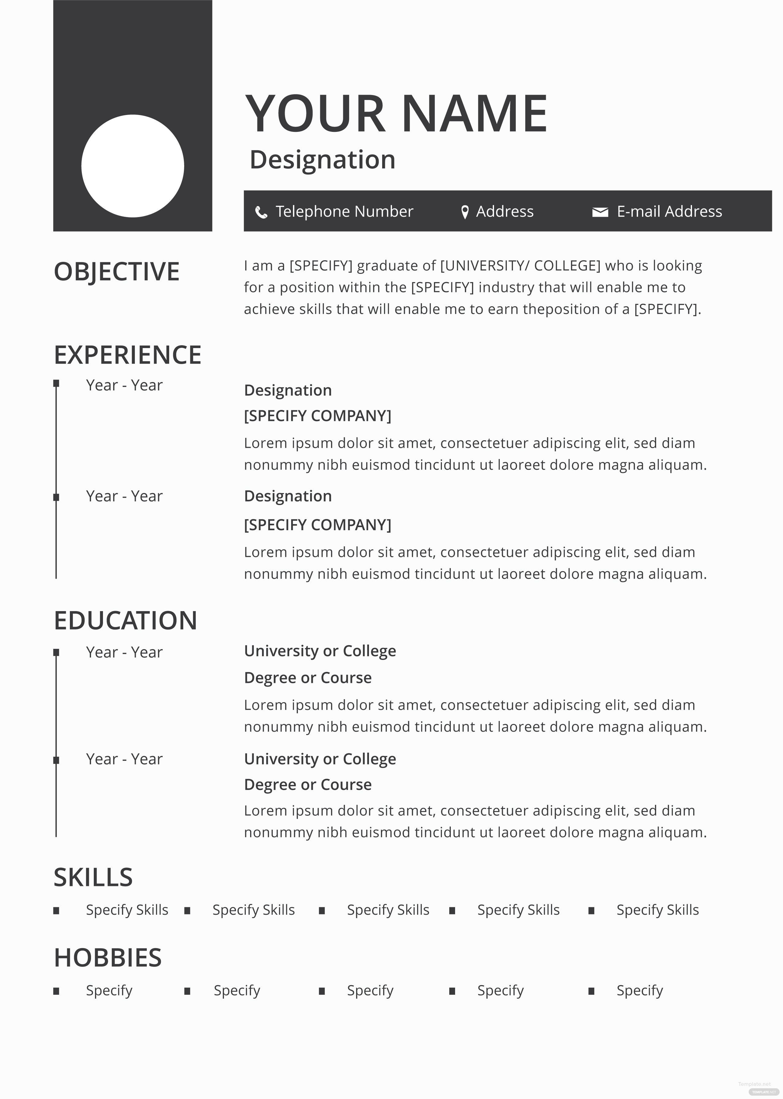 Free Blank Resume And Cv Template In Adobe Photoshop Microsoft Word