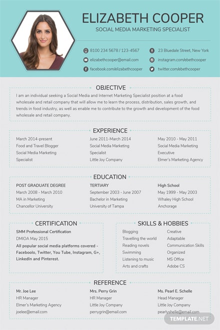 Free Social Media Specialist Resume Template