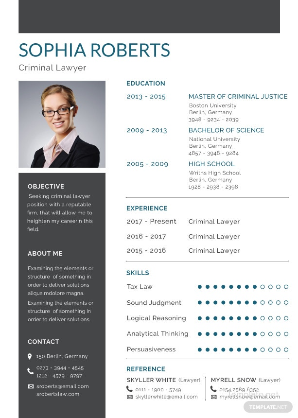 Free Criminal Lawyer Resume Template In Adobe Photoshop Illustrator
