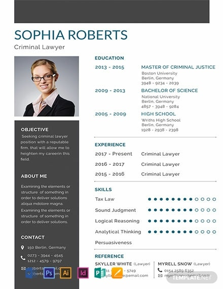 Free Basic Criminal Lawyer Resume Template