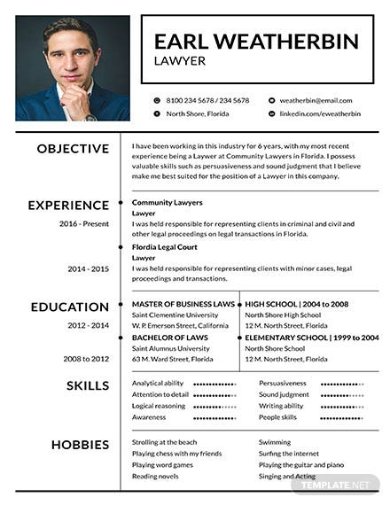 Free Basic Lawyer Resume Template