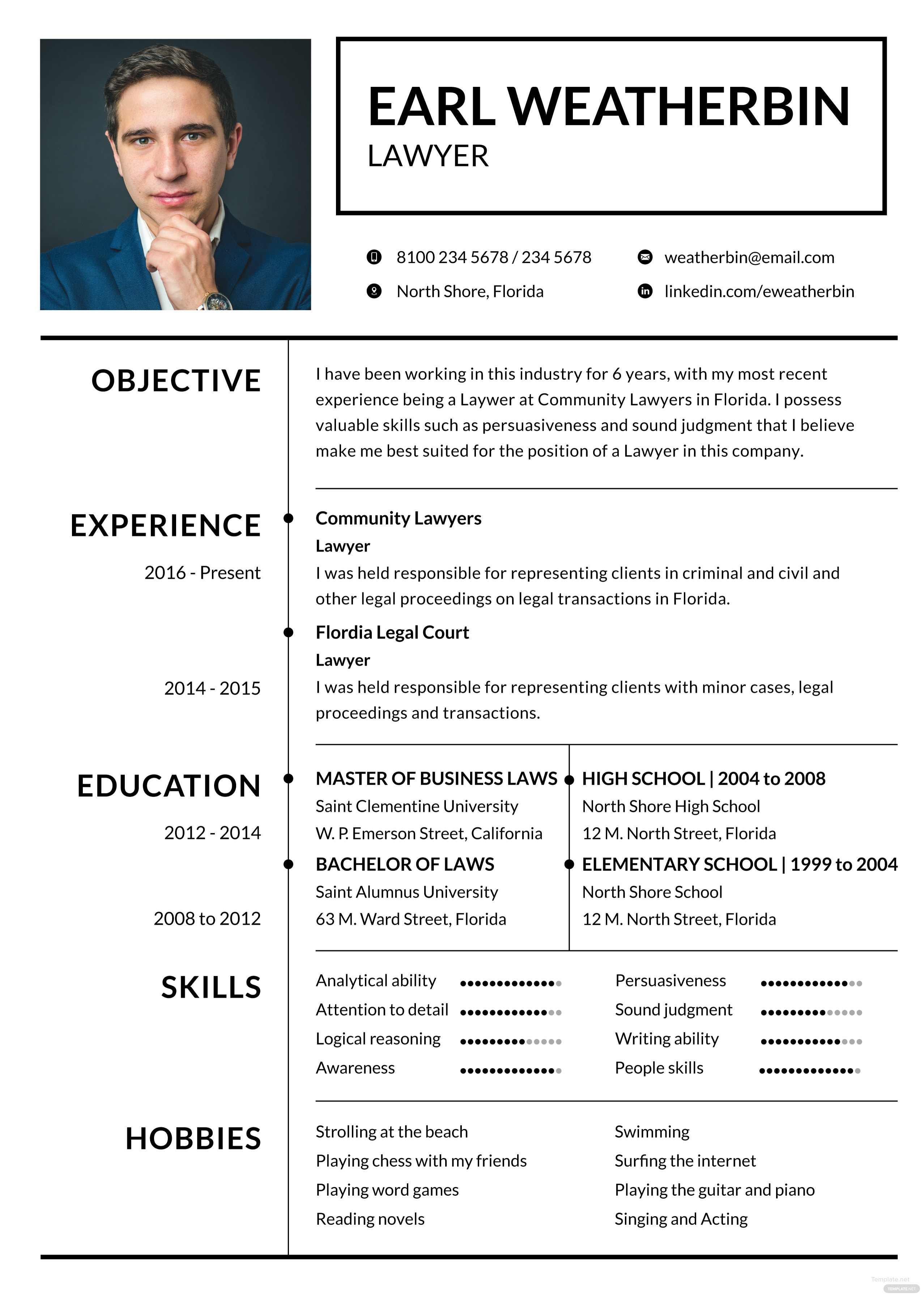 free basic lawyer resume template in adobe photoshop