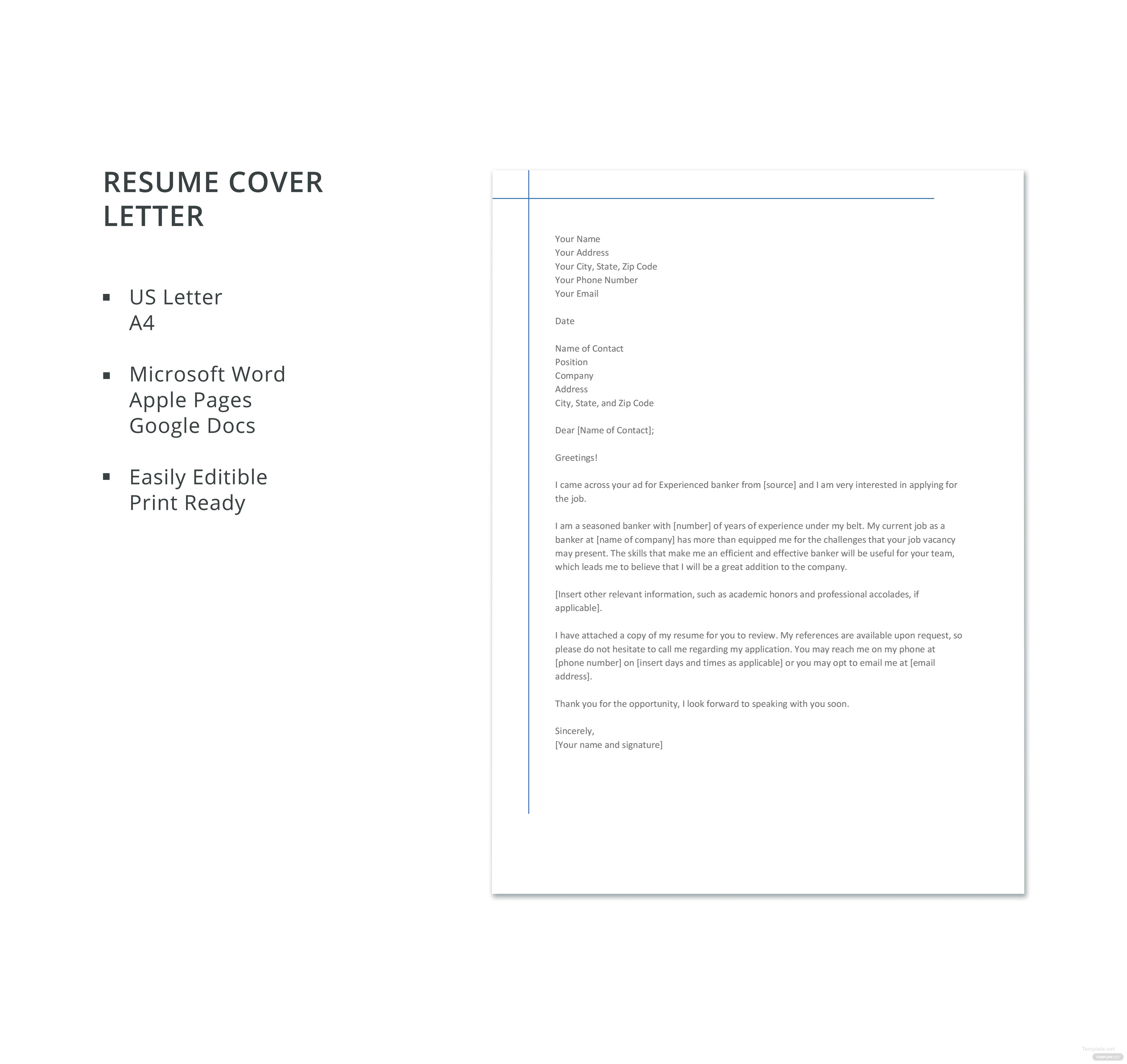 Banking Resume Cover Letters
