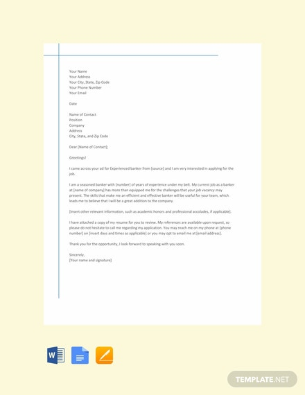 Free Banking Resume Cover Letter Template for Experienced