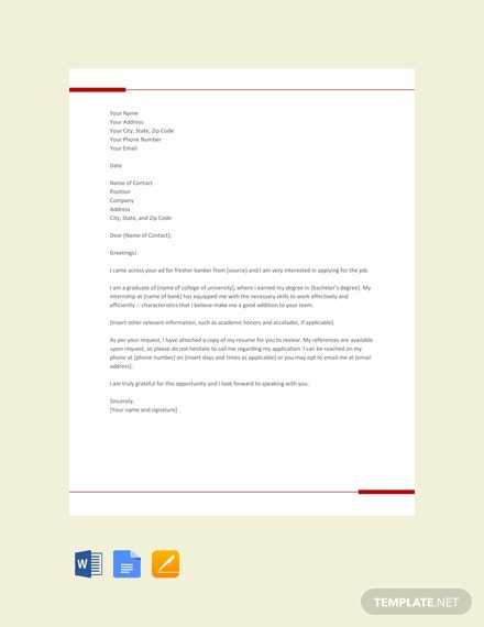 Free Banking Resume Cover Letter Template for Freshers