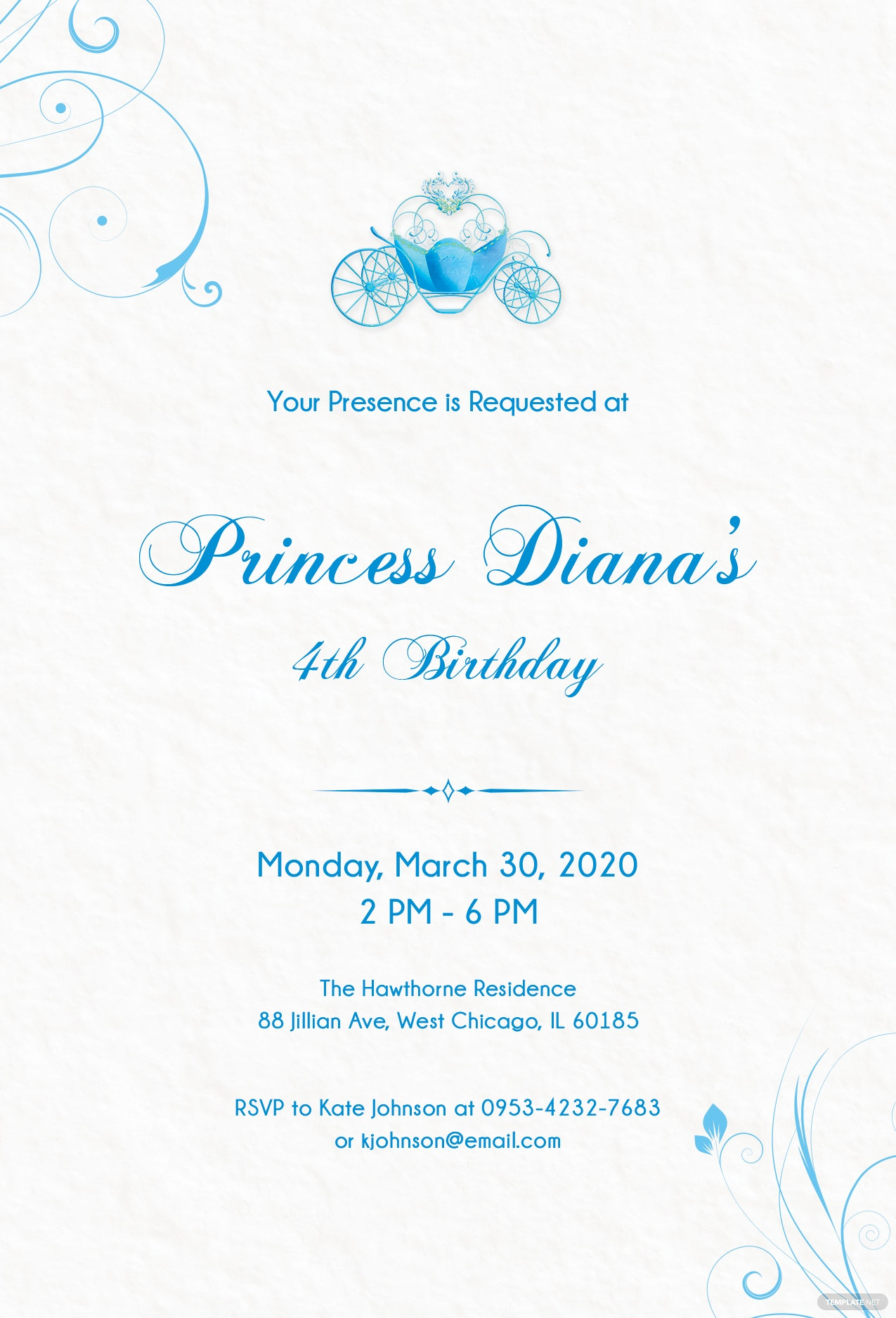 Free cinderella invitation template in psd ms word publisher free princess baby shower invitation template stopboris Images