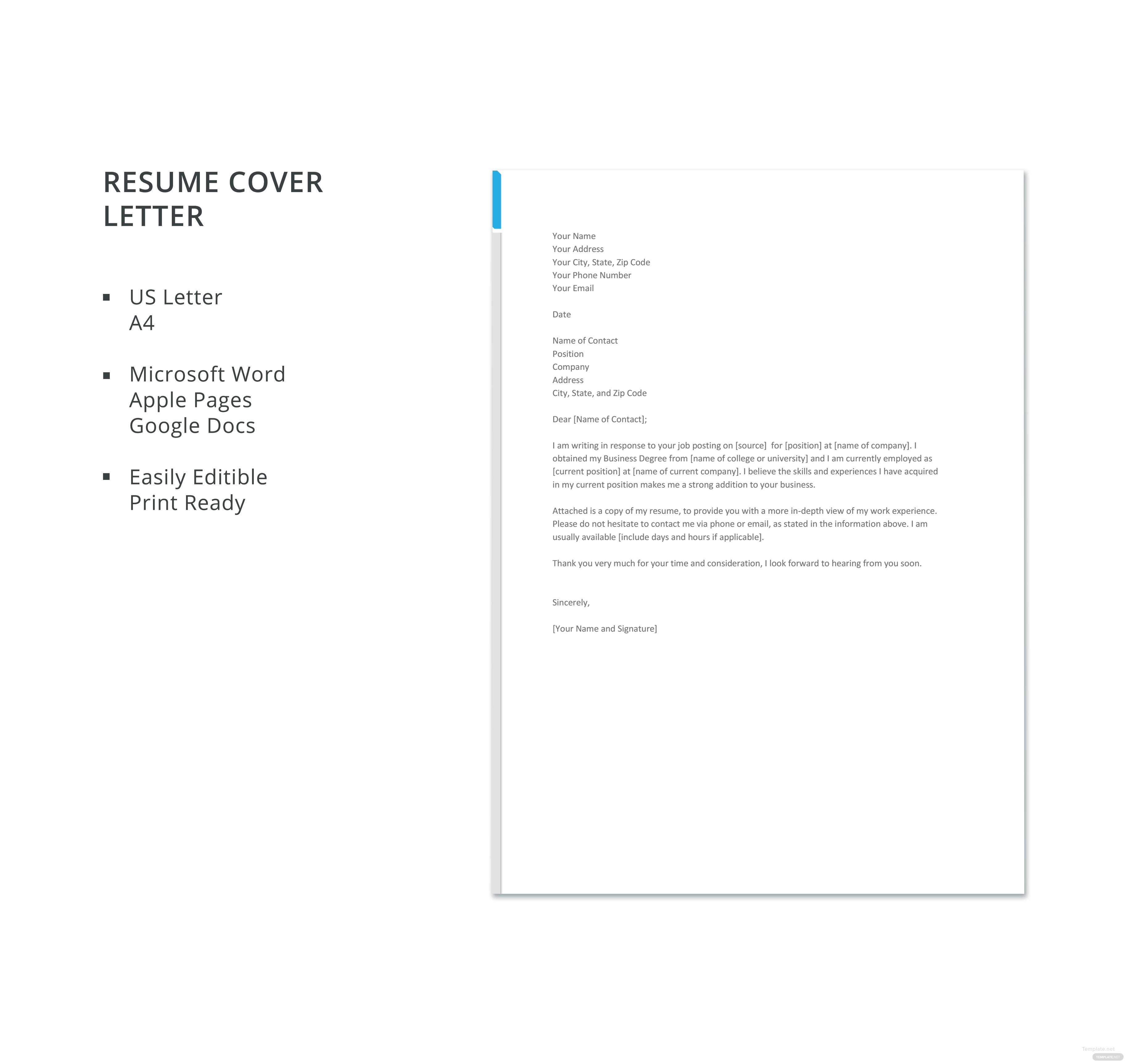Great Business Resume Cover Letter Template